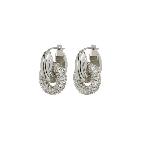 LUV AJ Jewelry Pave Interlock Hoops