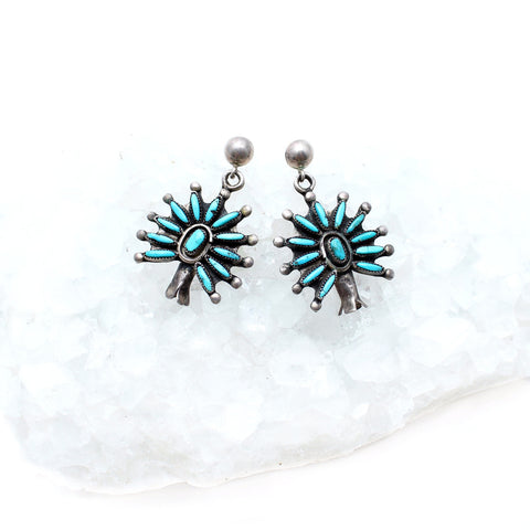 Zuni Floral Turquoise Earrings