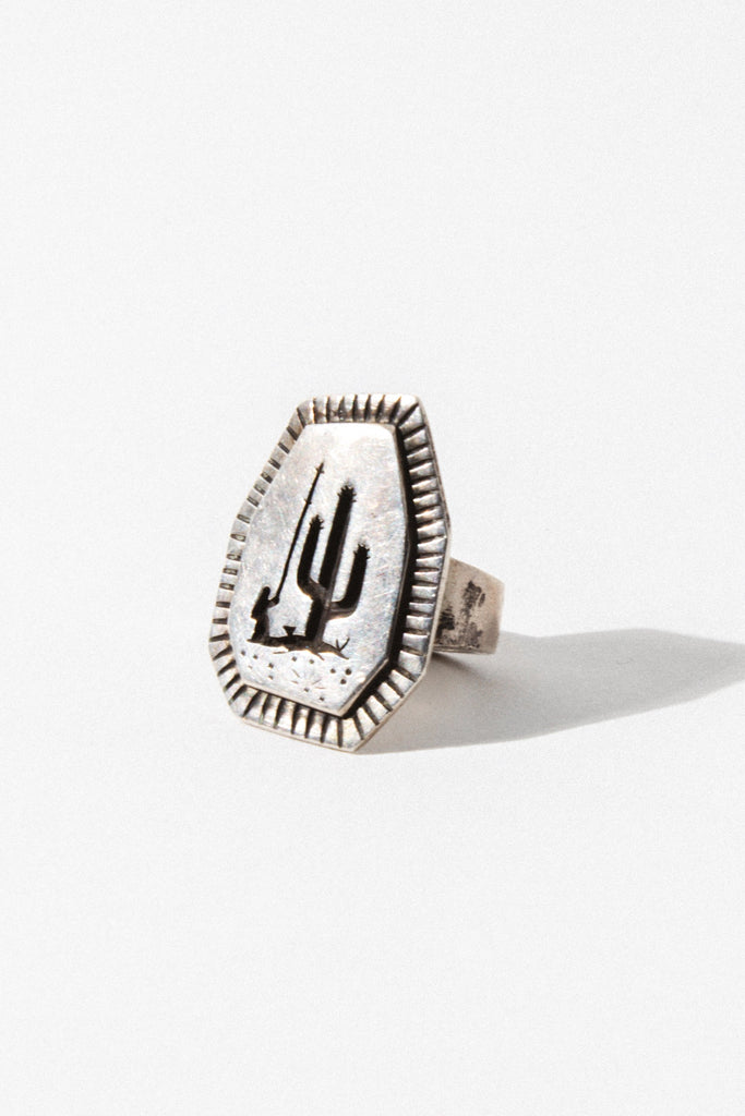 Vintage Native American Jewelry US 7 / sterling silver Burning Torch Cactus Ring