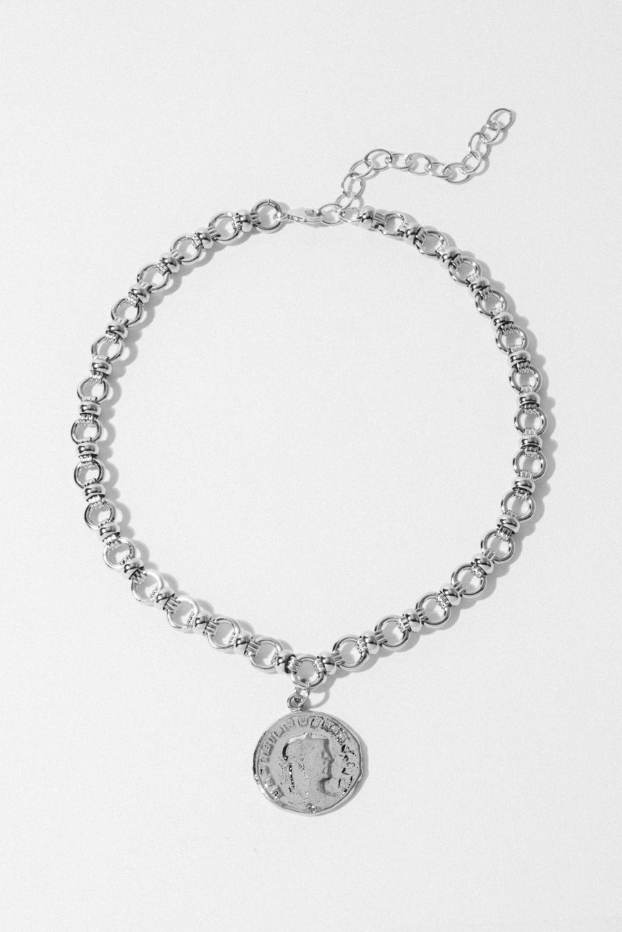 Goddess Jewelry Silver / 13 Inches Pertinax Coin Choker