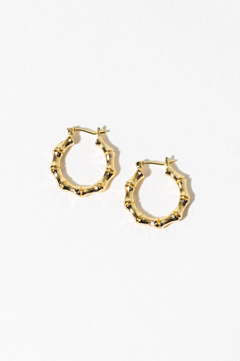 Aimvogue Jewelry Gold Bamboo Hoops