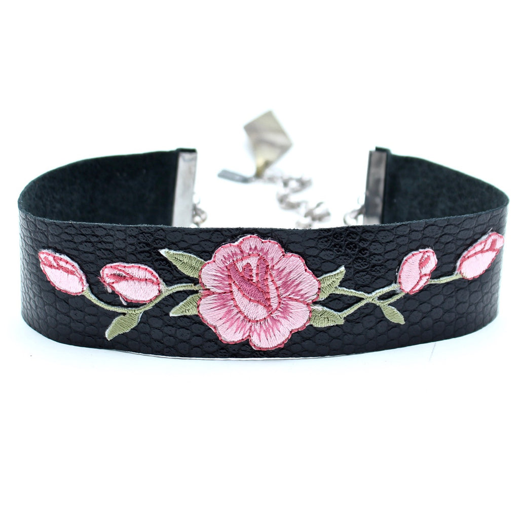 CW collection dead stock Pink / 12 Inches / FINAL SALE Wild Rose Leather Choker