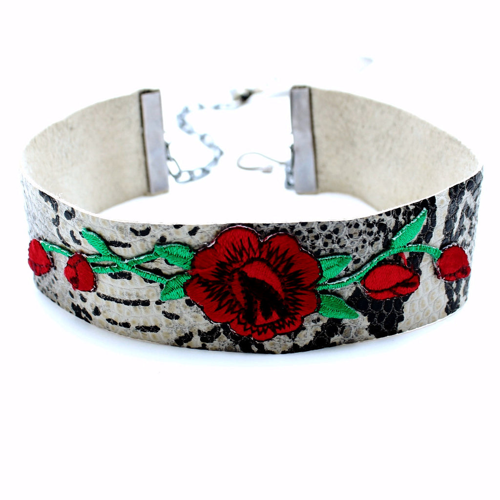 CW collection dead stock Red / 12 Inches / FINAL SALE Wild Rose Leather Choker