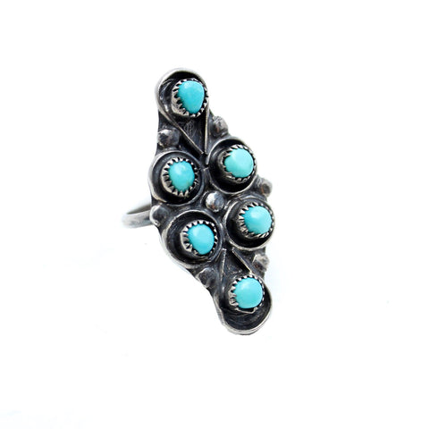Vintage Native American Jewelry US 5.5 / Silver Turquoise Dreams Vintage Ring