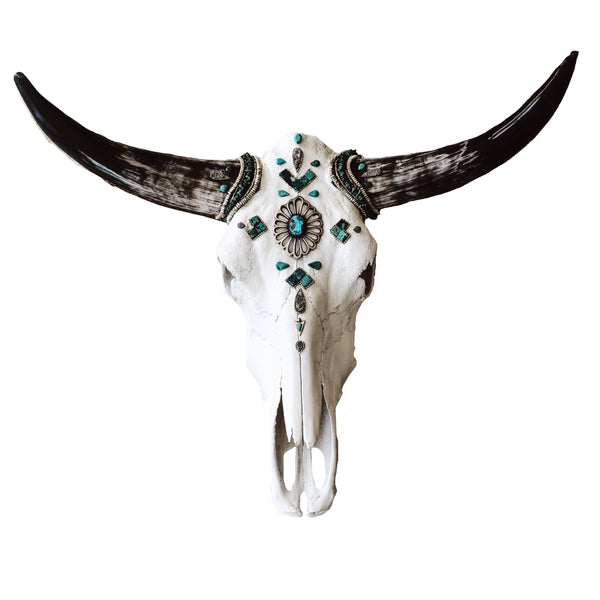Child of Wild Bones Wandering Turquoise Chief Longhorn Skull