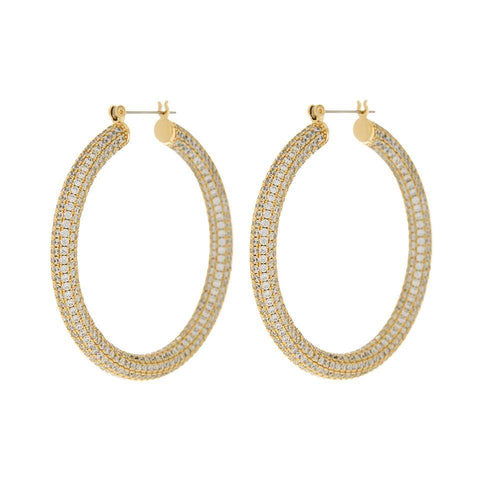 LUV AJ Jewelry Gold Pave Amalfi Hoops