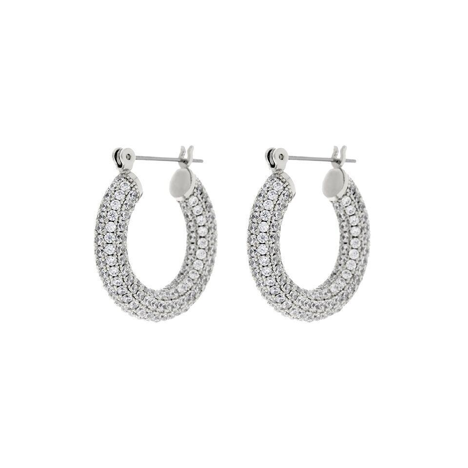 LUV AJ Jewelry Silver Pave Baby Amalfi Hoops
