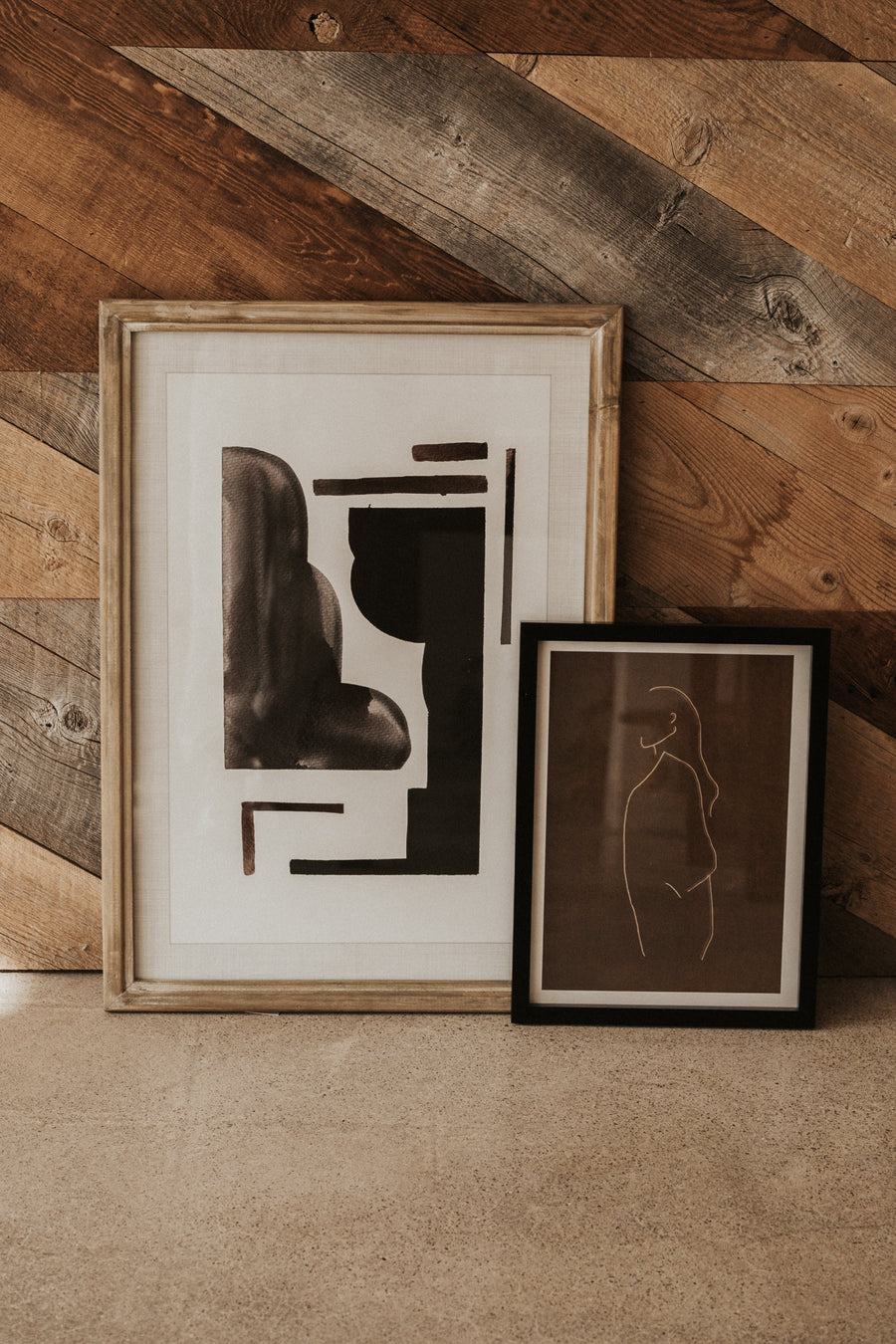 Bloomingville Objects Abstract Figure / Brown / FINAL SALE Mele Framed Abstract Wall Art