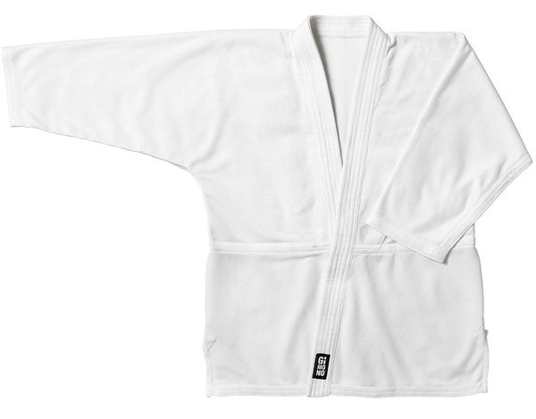 Judo gi jacket white front view Gimono performance fightwear
