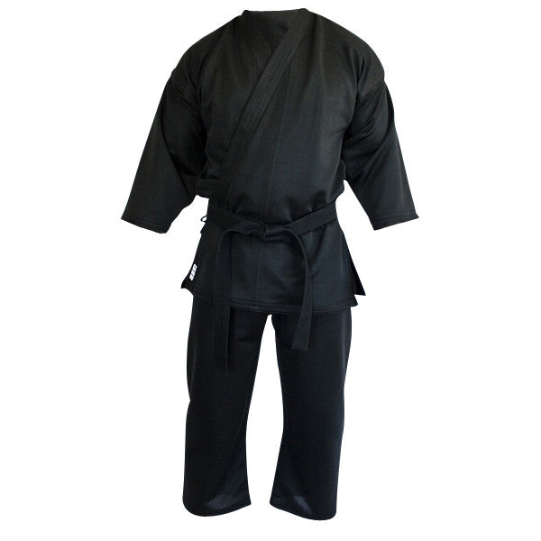 Karate gi black front view Gimono performance fightwear