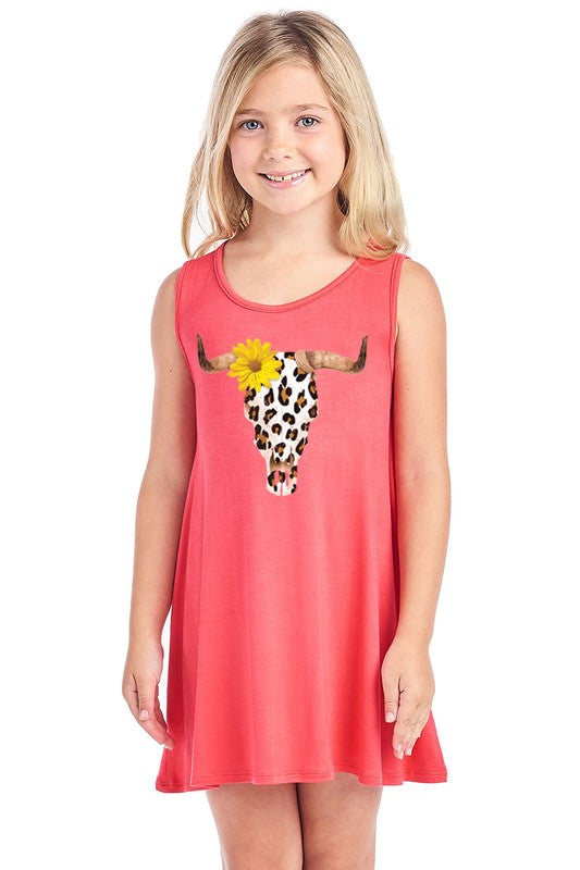 Girl Leopard Cowskull Tank Dress