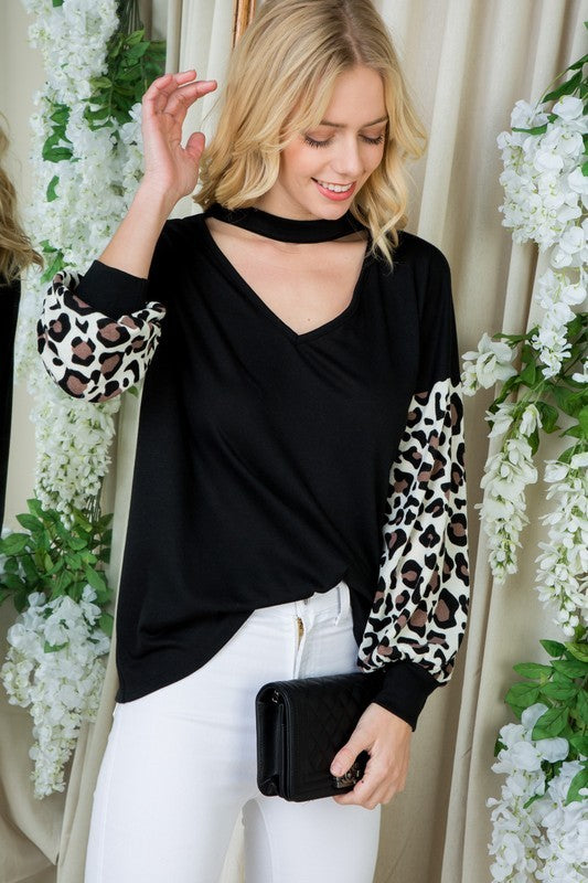 Bubble Sleeve Leopard & Black Choker Top