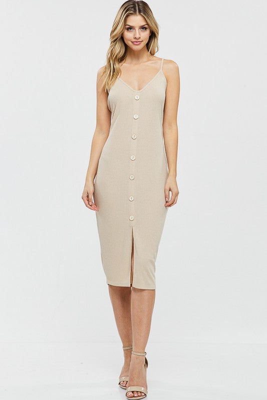 Midi Ribbed Dress w/ Button Detail