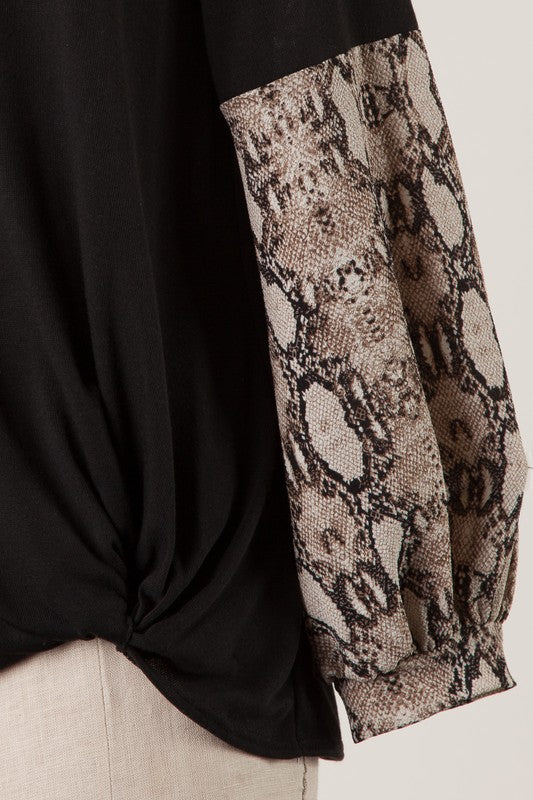 Snake Print Bubble Sleeve Top