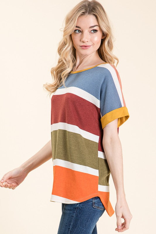 Brush Knit Multi Color Stripe Top