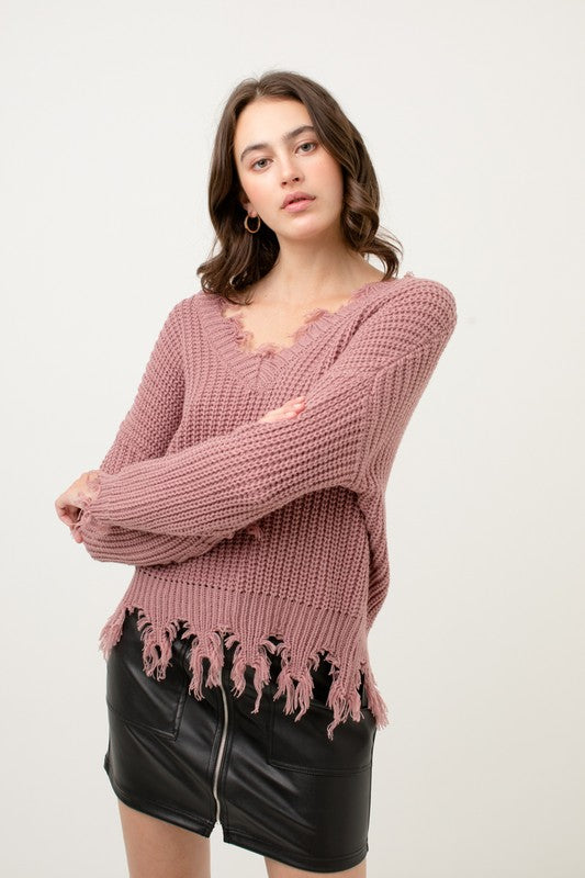Fringe Distressed Sweater