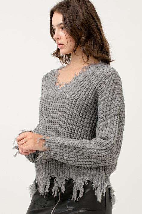 Fringe V-Neck Sweater