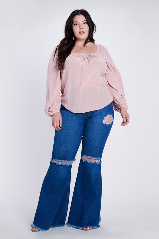 Vibrant M.I.U Denim Bell Bottoms w Hole