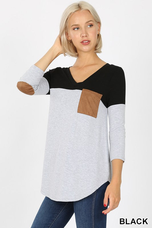 Suede Pocket 3/4 Sleeve Top