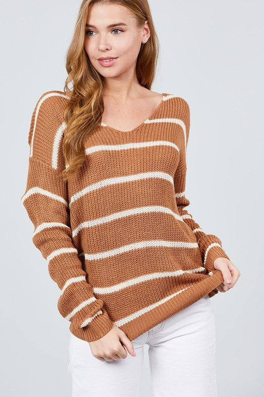 Twist Back Striped Sweater