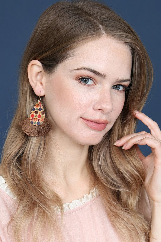Tile Pattern Tassel Earring