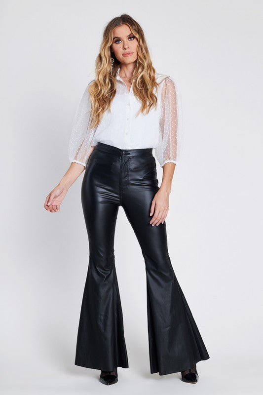 Vibrant M.I.U Faux Leather Bell Bottoms