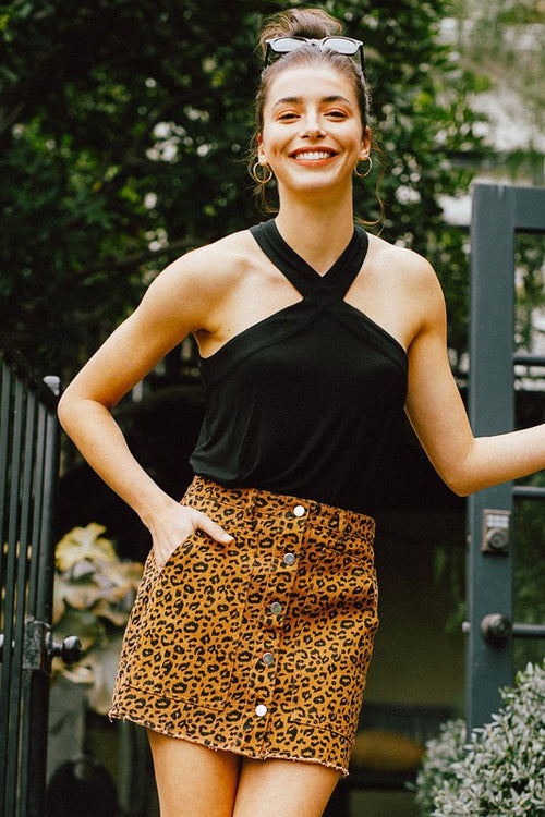 Leopard Button Down Denim Skirt