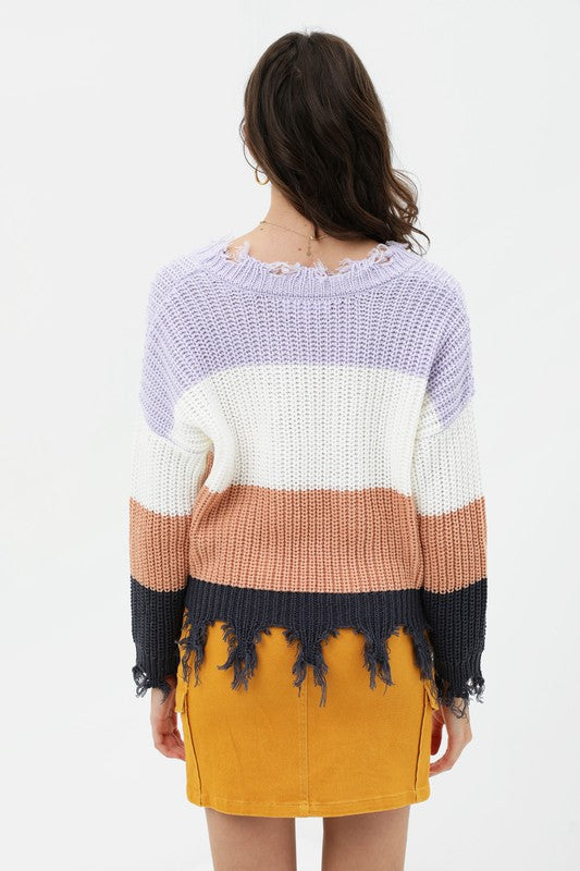 Striped Fringe Distressed Sweater