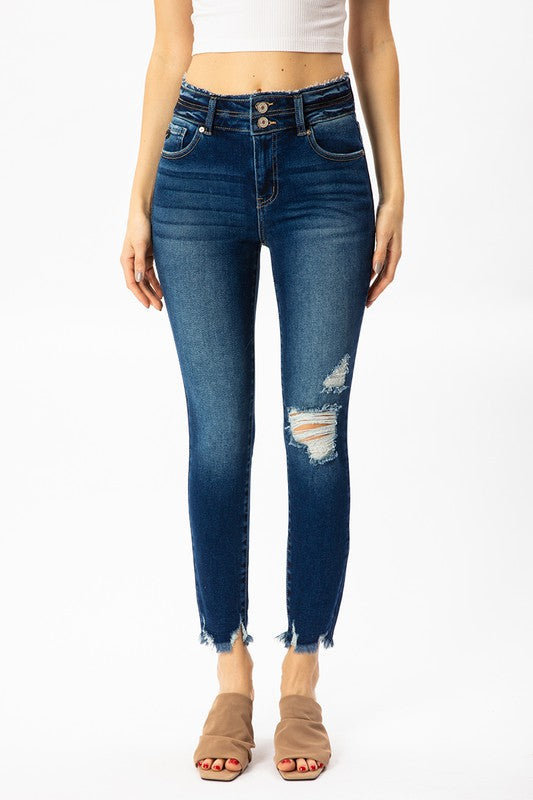 Kancan Double Button Dark Wash Distressed Jeans