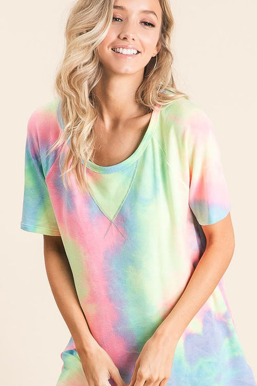Pastel Tie Dye Short Sleeve Top