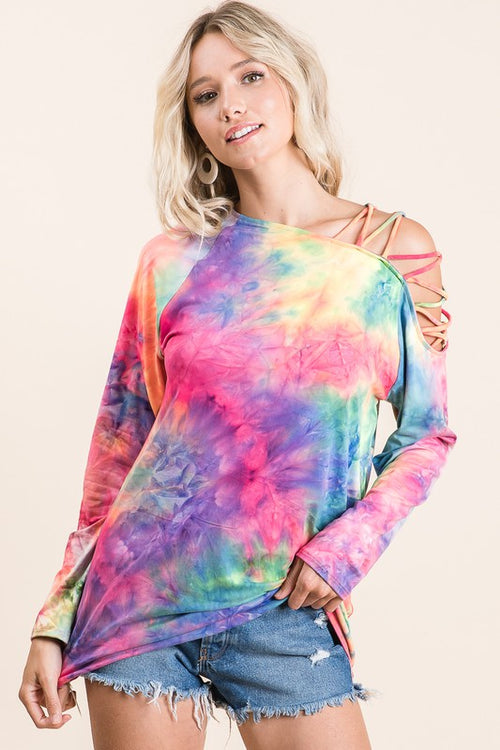 Tie Dye Strap Shoulder Top
