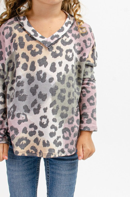 Kids Watercolor Leopard Top