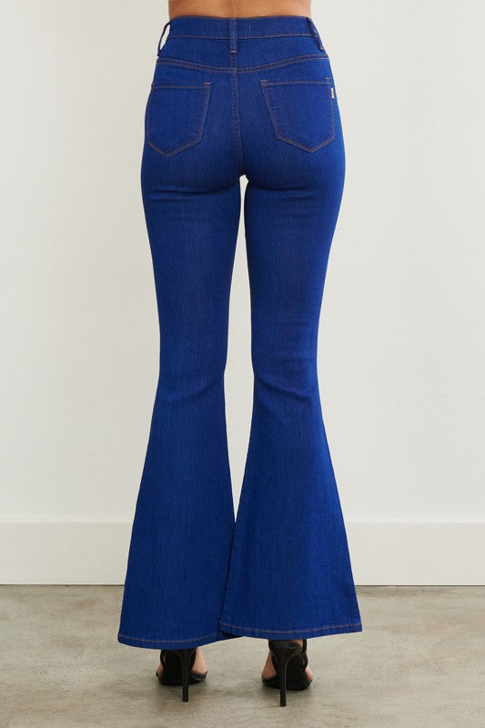 Retro Multi Button Vibrant M.I.U Denim Bell Bottoms