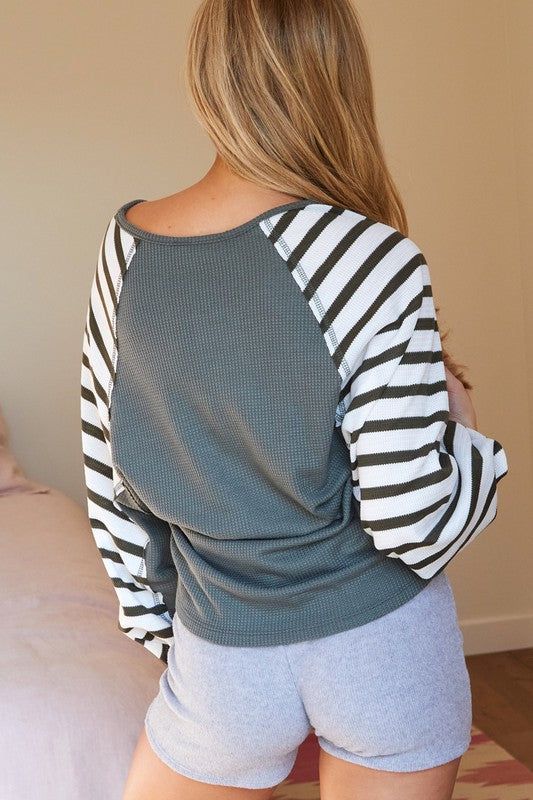 Sage & Stripe Bubble Sleeve Top