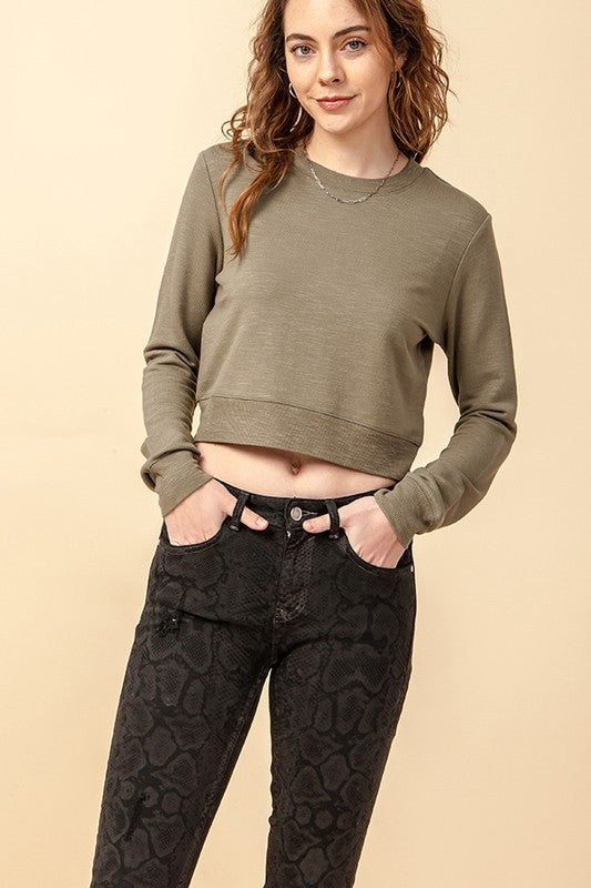 French Terry Crop Sweater