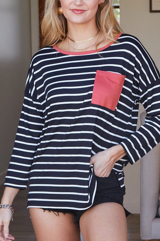 Striped Top with Pocket