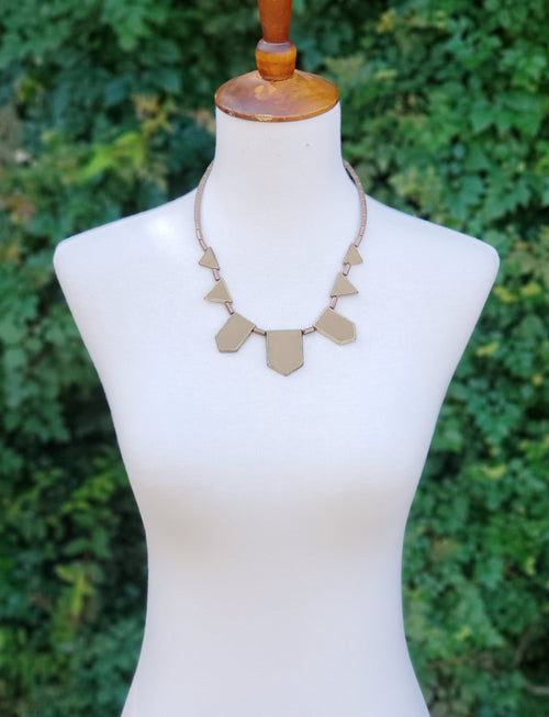 Taupe Geometric Necklace
