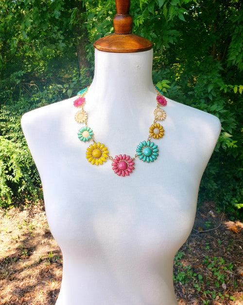 Floral Jeweled Multi-Colored Necklace