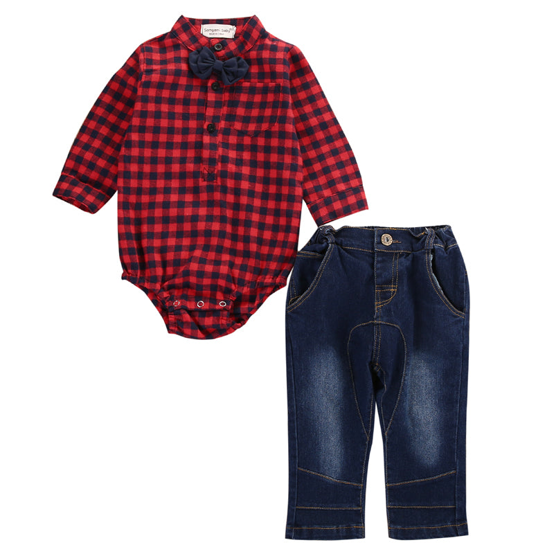 Baby Boys Flannel Onesie & Jeans