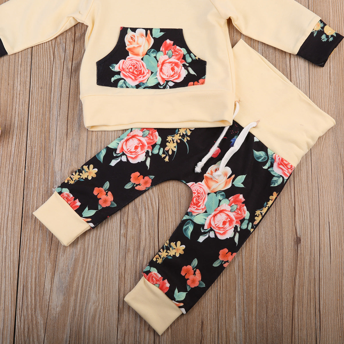 Baby Girls Black & Beige Floral Jogger Set