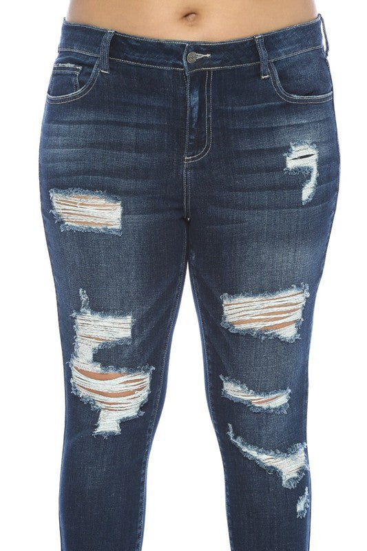 PLUS SIZE Cello Dark Wash Distressed Jeans