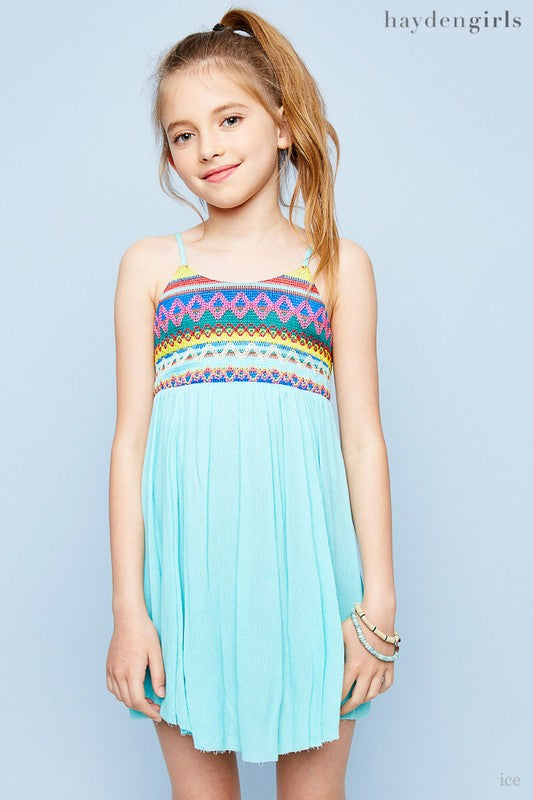 Kids Seafoam Embroidered Tank Dress