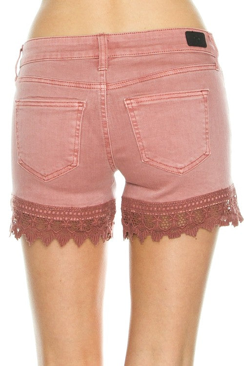 Mineral Washed Crochet Detail Shorts