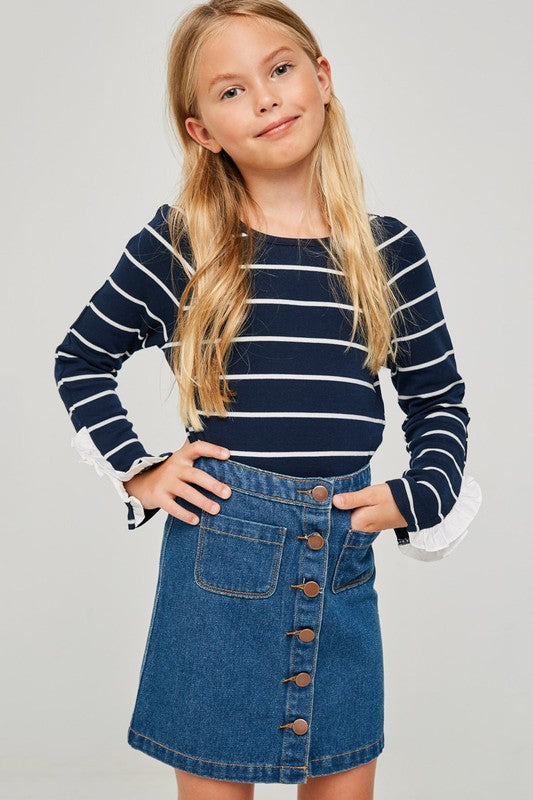 Girls Button Down Denim Skirt