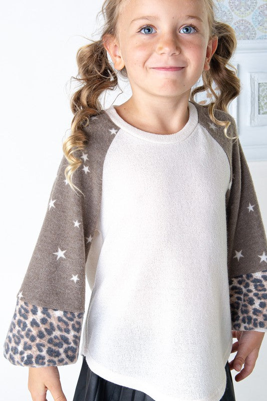 Kids Brown Star & Leopard Bubble Sleeve Top