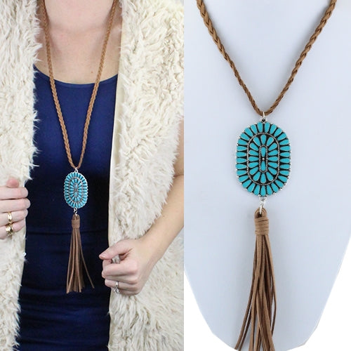 Braided Rope & Oval Pendant Tassel Necklace