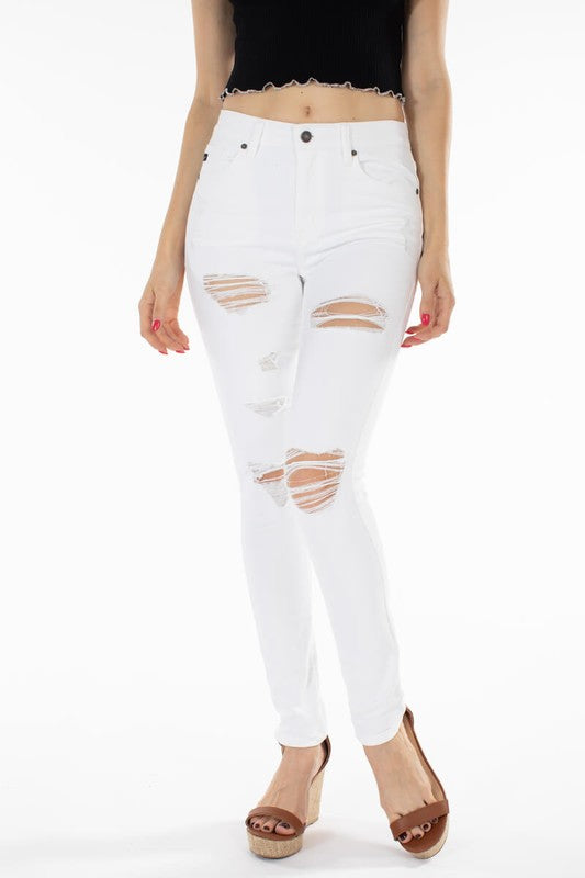 White Kancan High Rise Distressed Skinny Jeans