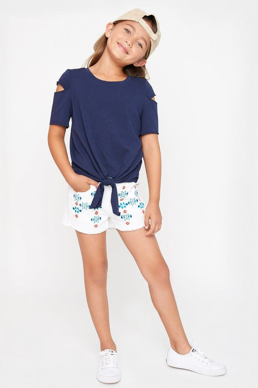 Kids Cutout French Terry Top Navy