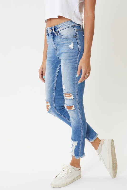 Kancan High Rise Light Wash Distressed Jeans