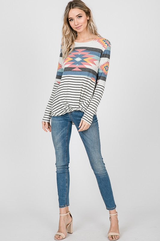Long Sleeve Aztec & Stripe Knotted Top